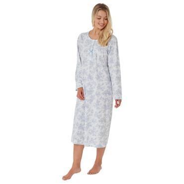 Printed Long Sleeve Night Dress - Blue