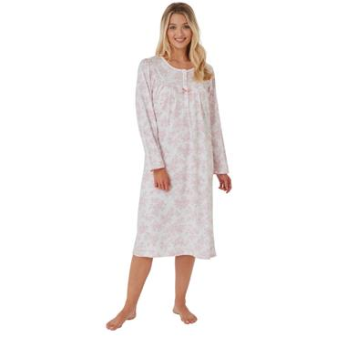 Printed Long Sleeve Night Dress - Pink