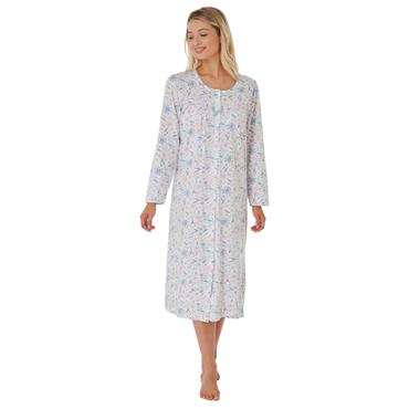 Long Sleeve Floral Print Night Dress - Pink / Blue