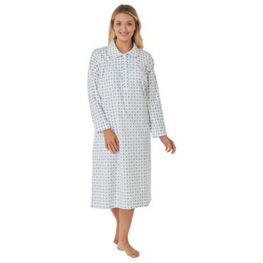 Print Wincey Night Dress Navy