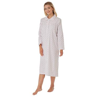 Print Wincey Night Dress Plum