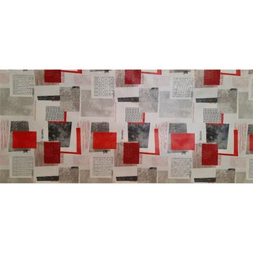 Red & Grey Squares Oil Cloth