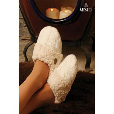 Aran Woolen Mills Knitted Slip on Slippers - Snow