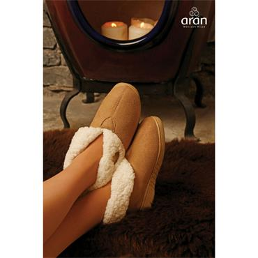 Aran Woolen Mills Faux Suede Boot Slippers - Toast
