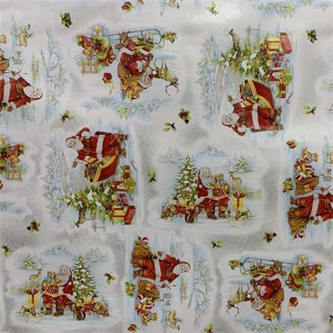 Oil Cloth - H - Santa & Sleigh in the Snow
