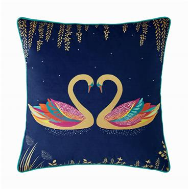Swan Navy Feather Cushion 50x50cm by Sara Miller
