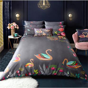 Swan Dark Grey Duvet Cover Set by Sarah Miller