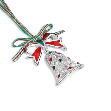 CHRISTMAS BELL WITH BOW HANGING DECORATION
