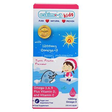 Eskimo Kids Pure Natural Omega-3 Omega-6 Omega-9 Vitamin D & E With Tutti Fruity Taste 105ml