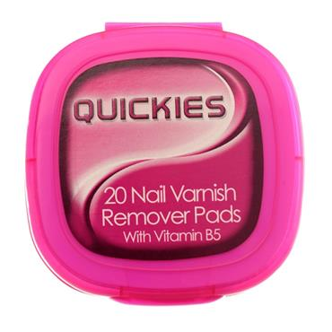 Quickies Nail Varnish Remover Pads with Vitamin B5 Large 20 Pack