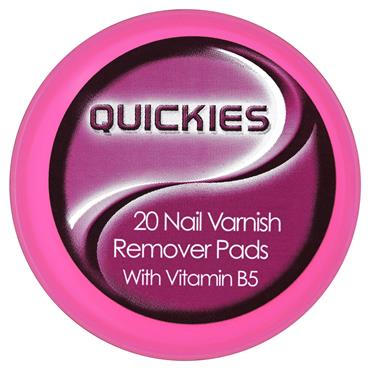 Quickies Nail Varnish Remover Pads with Vitamin B5 Small 20 Pack