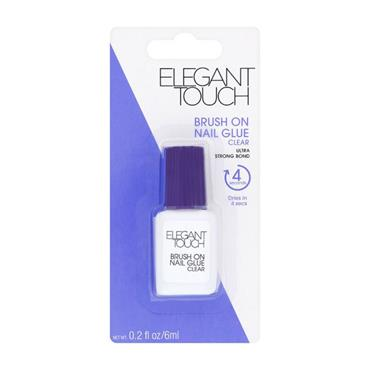 Elegant Touch Brush On Nail Glue Clear Ultra Strong Bond 6ml