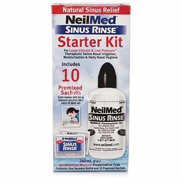NeilMed Sinus Rinse Starter Kit 240ml Bottle & 10 Premixed Sachets