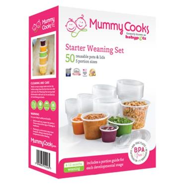Mummy Cooks Starter Weaning Set 50 Reusable Pots and Lids in 5 sizes