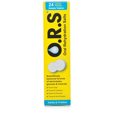 O.R.S. Oral Rehydration Salts (ORS) 24 Soluble Tablets Lemon Flavour