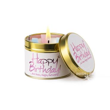 Lily Flame Candle In A Tin Happy Birthday