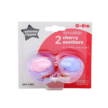 Tommee Tippee Essentials Cherry Soothers 0-6m 2 Pack