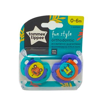 Tommee Tippee Closer To Nature Fun Style Soothers 0-6m 2 Pack