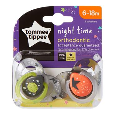 Tommee Tippee Closer To Nature Night Time Silicone Soother 6-18mts 2 Pack