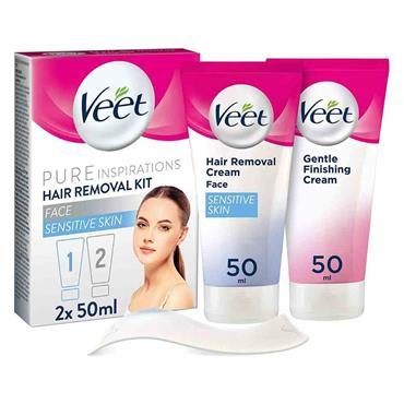 Veet Pure Inspirations Face Hair Removal Kit For Sensitive Skin 2 x 50ml