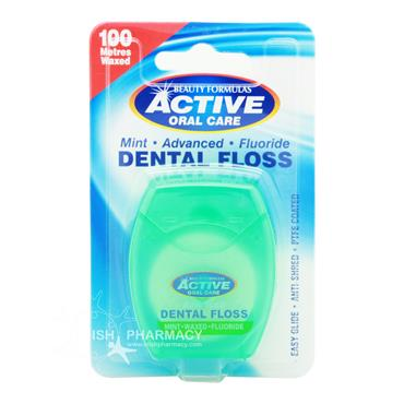 Beauty Formulas Active Oral Care Mint Dental Floss 100 Metres Waxed
