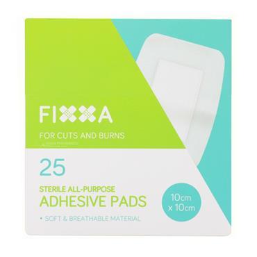 FIXXA Adhesive Gauze Pad Dressing 10cm x 10cm Box Of 25