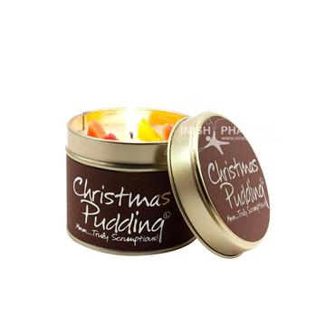Lily Flame Candle In A Tin Christmas Pudding