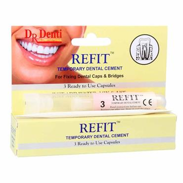 Dr Denti Refit Temporary Dental Cement 3 Capsules