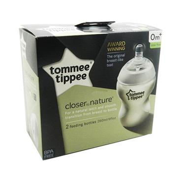 Tommee Tippee Closer To Nature Feeding Bottles 260ml 0m+ Twin Pack