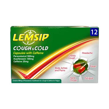 Lemsip Cough And Cold Capsules With Caffeine 12 Pack