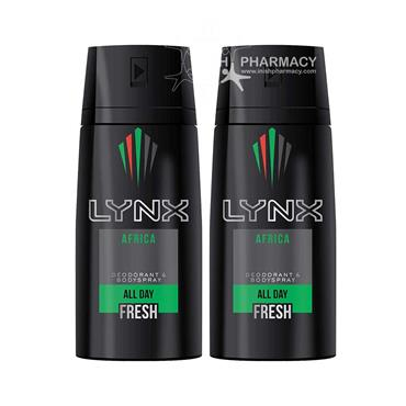 Lynx Body Spray Africa 150ml Twin Pack