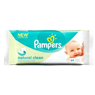 Pampers Baby Wipes Natural Clean 64 Pack