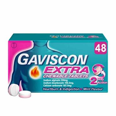 Gaviscon Extra Chewable Tablet Mint 48 Pack