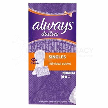 Always Dailies Singles Normal Liners 20 Pack