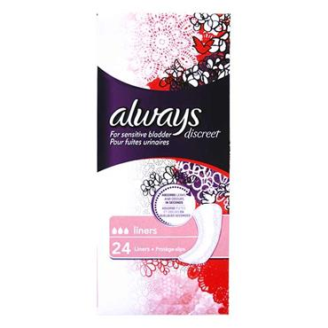 Always Discreet For Sensitive Bladder Liners 24 Pack