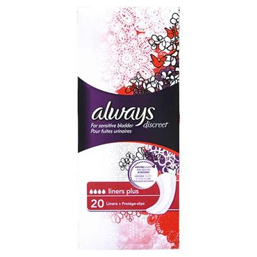 Always Discreet For Sensitive Bladder Liners Plus 20 Pack