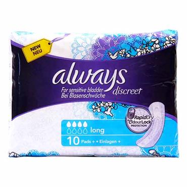 Always Discreet For Sensitive Bladder Long Pads 10 Pack