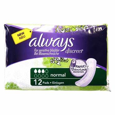 Always Discreet For Sensitive Bladder Normal Pads 12 Pack