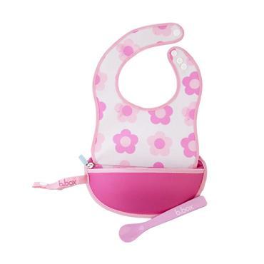 b.box Travel Bib & Spoon - Flower Power (Pink)