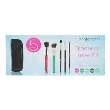 Blank Canvas Cosmetics Starter or Travel Kit 5 Piece Brush Set