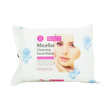 Beauty Formulas Micellar Cleansing Facial Wipes For Sensitive Skin 25 Pack