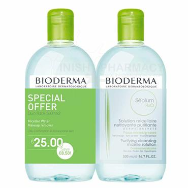 Bioderma Sebium H2o Micellar Water 500ml Twin Pack Special Offer