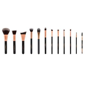 Blank Canvas Cosmetics Dimension Series Metallic Rose Gold & Black 12 Piece Face & Eye Brush Set
