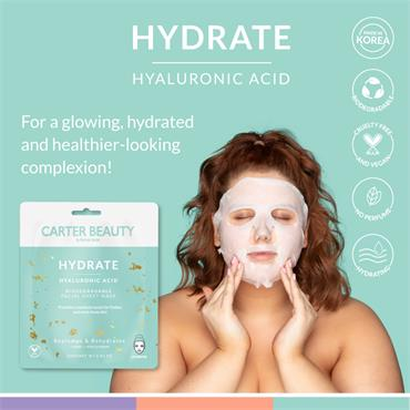 Carter Beauty Hydrate Hyaluronic Acid Biodegradable Facial Sheet Mask