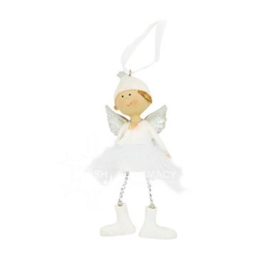 Large Hanging White Angel With Feather Skirt Christmas Decoration