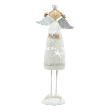 White Angel With Silver Wings 28cm Christmas Decoration