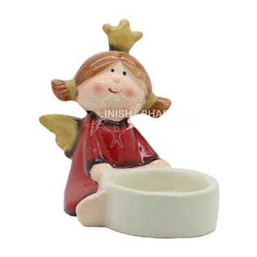 Red Angel With Crown Christmas With Tea Light Holder Decoration