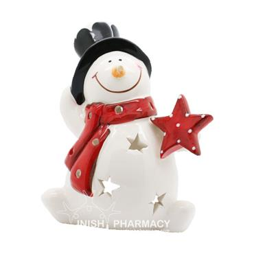 Snowman With Hat Candle Holder Christmas Decoration