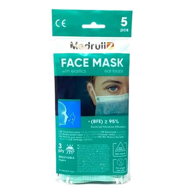 Type 1 Three Layer Medical Face Masks 5 Pack