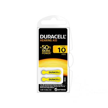 Duracell Activair Hearing Aid Battery 10 Yellow 6 Pack